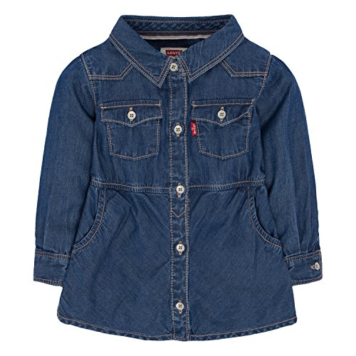 Levi's Girls' Baby Long Sleeve Woven Denim Dress, Blue Winds, 12 Months (Baby Levi Jeans Girls)