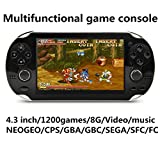 JXD new 4.3 inch 8GB build in 1200+ games for Arcade NEOGEO/CPS/FC/SFC/GBA/GBC/GB/SMC/SMD/SEGA Handheld Game Console Video Game Console game Player MP3 MP4 MP5 (Black)