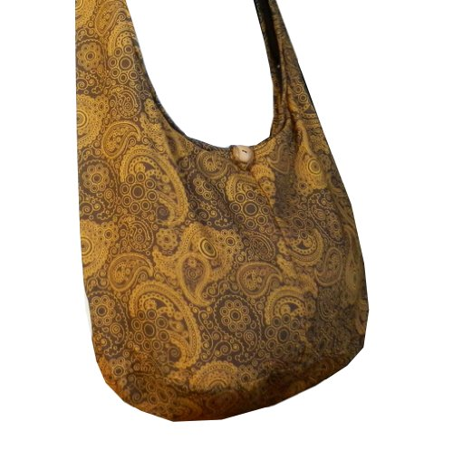 BTP! Thai Cotton Hippie Hobo Sling Crossbody Bag Messenger Purse Paisley Print Large (Brown (Signature Sling Handbag)