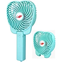 Happy-top Mini Portable Handheld Fan, 3 Speeds Electric Personal Foldable Fans USB Rechargeable Cooling Fan Desktop Table Fan with 18650 Battery for Home Office Outdoor Travel (Blue)