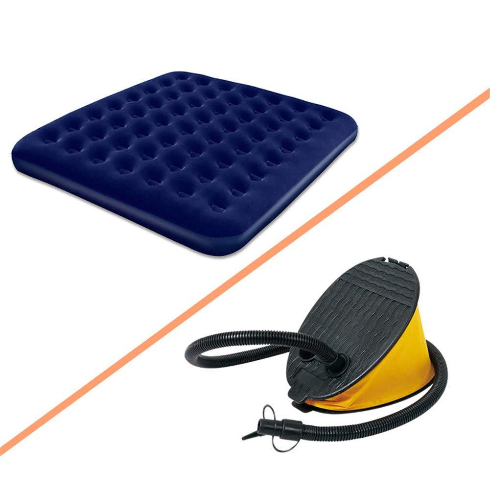 J.SPG Luftbett,Zellular Beflockung Luftmatratze 2 Leute Aufblasbares Kissen für den Außenbereich Feuchtigkeitsfestes Pad Hautfreundlich Tragbar Dunkelblau (Aufblasbare Pumpe)