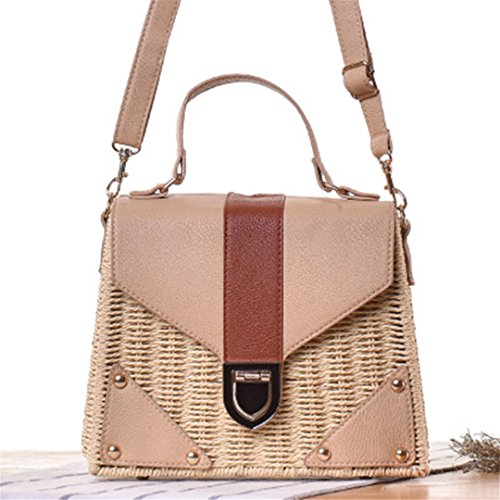 Vintage Bohemian made Summer Hand Bag Bags Beach Beige Rattan Pink Straw Bags Women Broken Bag YfT1Yrv