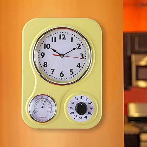 Lily's Home Retro Kitchen Wall Clock, with a Thermometer and 60-Minute Timer, Ideal for Any Kitchen, Yellow (9.5 in x 13.3 in) 51Bgewln6sL