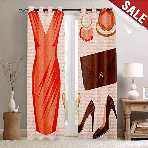 - Heels and Dresses Blackout Draperies for Bedroom Accessories Fashion Cocktail Dress Lipstick Earrings High Heels Thermal Insulating Blackout Curtain W72 x L96 Inch Salmon Brown Peach