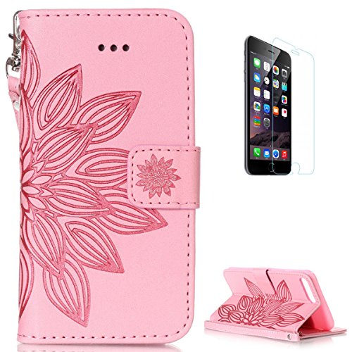 Iphone 7 Plus 8 Plus Leather Wallet Case  With Free Screen Protector  Kasehom Mandala Lotus Flower Embossed Folio Magnetic Flip Stand Pu Leather Protective Case Cover Skin Shell Pink  2