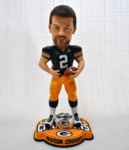 NEW ITEM!! Mason Crosby #2 Green Bay Packers Nfl official Super bowl XLV Champions collectible limited Edition ring base Bobble head by forever