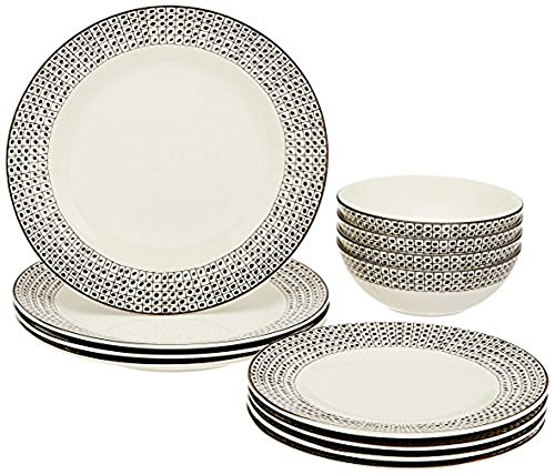 Lenox Around the Table Dot 12 Piece Set, White - Crafted of Lenox stoneware Microwave Safe Dishwasher Safe - kitchen-tabletop, kitchen-dining-room, dinnerware-sets - 51BgfVRX9XL -
