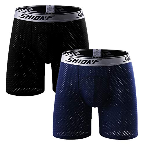 Ouruikia Men's Underwear Sports Boxer Briefs Mesh Quick Dry Athletic Performance Boxer Briefs Travel Underwear (Black + Blue(2 Pack), X-Large)