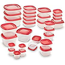 Rubbermaid Easy Find Lids Food Storage Containers, Racer Red, 60-Piece Set 2005627
