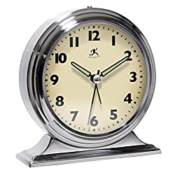 Infinity Instruments Brushed Nickel Metal Alarm Clock