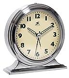 Infinity Instruments Brushed Nickel Metal Alarm Clock