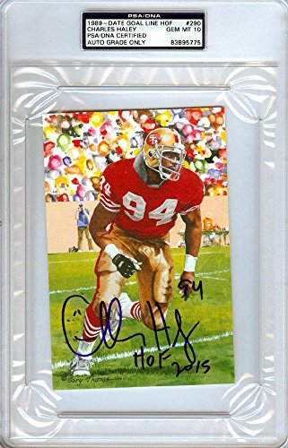 Charles Haley Autographed Signed Goal Line Art Postcard Gem 10 104324 PSA/DNA Certified NFL Cut Signatures
