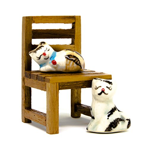 Blue Mango Cat Ceramic Figurine 2 x 2.8 cm. and Wooden Chair 3.5 x 5 cm. Handmade Design Interior Decoration Showcase. Bedroom. Backyard. Collections in - Yoda In Sunglasses