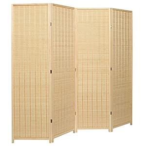 MyGift Decorative Freestanding Beige Woven Bamboo 4 Panel Hinged Privacy Screen Portable Folding Room Divider