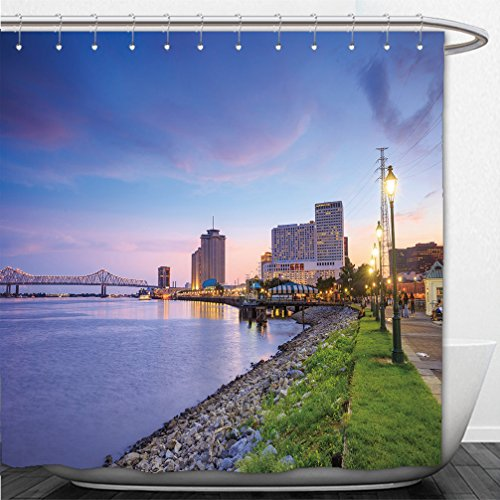 Interestlee Shower Curtain downtown new orleans louisiana and the missisippi river at twilight - New River Walk Orleans