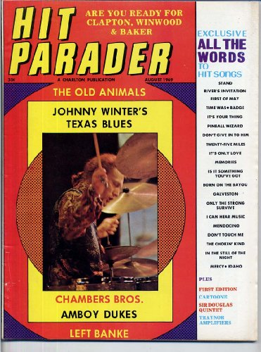 Hit Parader Magazine BLIND FAITH Left Banke JOHNNY WINTER Chambers Brothers AMBOY DUKES Kenny Rogers SIR DOUGLAS QUINTET August 1969 C (Hit Parader Magazine)