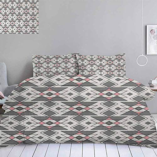 Abstract Duvet Cover SetGeometric Pattern with Traditional Aztec Culture Effects Tribal PrintDecorative 3 Piece Bedding Set with 2 Pillow ShamsCalifornai King Size104quotx98quot Grey Pearl Pale Pink