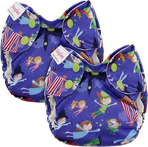 Blueberry Newborn Simplex All in One Cloth Diapers, Bundle of 2, Made in USA (Neverland)