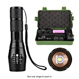 LED Tactical Flashlight - Atcose Super Bright 1200lm CREE XM-L2 5 Modes Mini Zoomable Adjustable Handheld Flashlights, Aluminium Metal Water Resistant Portable Torch Light With Battery And Charger