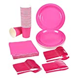 Disposable Dinnerware Set - Serves 24 - Dark Pink Party Supplies - Includes Plastic Knives, Spoons, Forks, Paper Plates, Napkins, Cups, Neon Pink