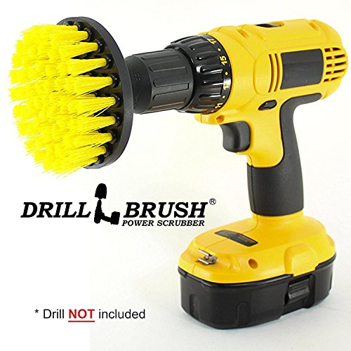 Drillbrush 4 Inch Diameter Power Spinning Detailing Nylon Scrub Brush With Quarter Inch Quick Change Shaft (Soap Brush Dispenser)