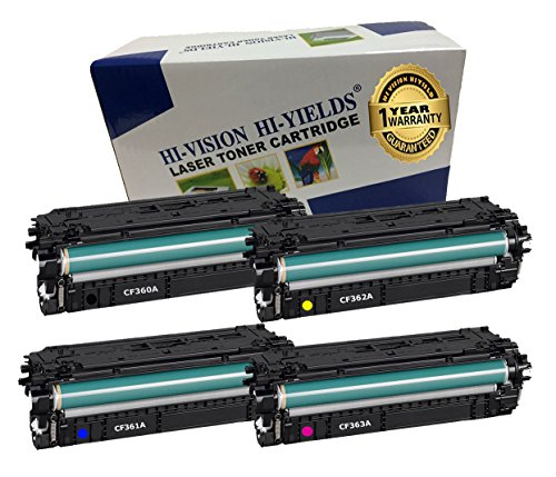 HI-VISION® 4 PK Compatible HP 508A Combo Set [CF360A CF361A CF362A CF363A] BCYM Toner Cartridge Replacement for Color LaserJet M553dn, M553n, M577dn, M577f, M577Z