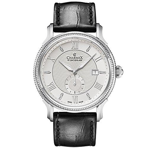 Charmex Men's La Rochelle 42mm Black Leather Band Steel Case Sapphire Crystal Quartz White Dial Watch 2825
