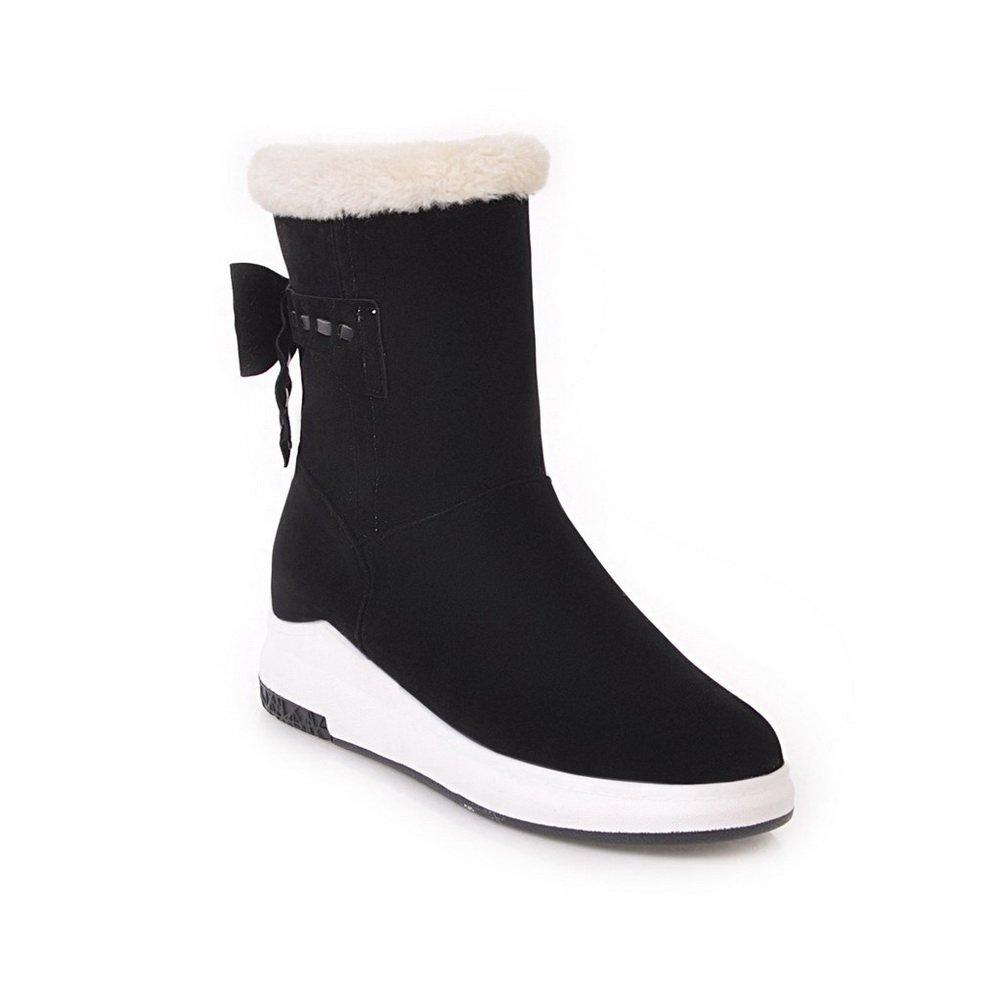 BalaMasa Womens Casual Travel Platform Comfort Wedges Black Suede Boots ABL09897-4.5 B(M) US