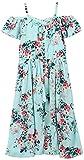 Speechless Big Girls' Off The Shoulder Midi Dress, Mint/Pink, 12