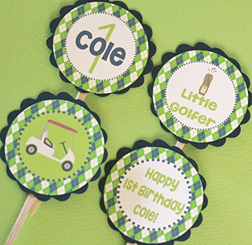 - 12 - Green & Navy Blue Preppy Argyle Golf Golfer Happy Birthday Cupcake Toppers - Party Packages, Favor Tags, Banners, Door Signs Available