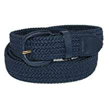 CTM Mens Elastic Covered Buckle Braided Stretch Belt (Big & Tall Available), Large, Navy