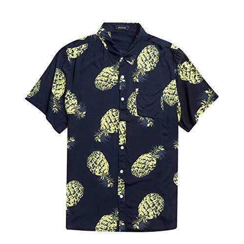 Men's Hawaiian Short Sleeve Shirt- MCEDAR Aloha Flower Print Casual Button Down Standard Fit Beach Shirts (Small, NAVY4828)
