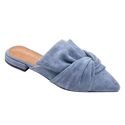 Daytwork Zapatos Mujer Mocasines - Pisos Mule Puntiagudo Gamuza Media Zapatilla Informal Bombas Verano Sin Espalda Confort Sandalias Moda: Amazon.es: ...