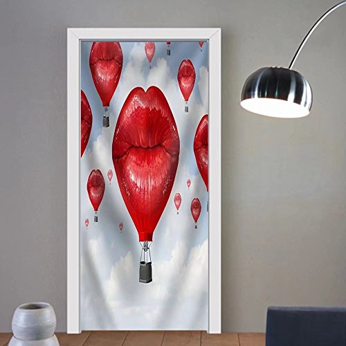Gzhihine custom made 3d door stickers Love Balloons as a Hot Air Balloon Made of Human Red Lips Soaring Up to the Blue Sky Fabric Home Decor For Room Decor 30x79 by Gzhihine