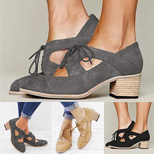 Sandales Bateau Lacets Simples Suqare Courtes Femme Creuses chaussures femmes Unie Chaussures Talons Couleur Marron Bottes hQrdxtsBC