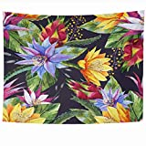 Ahawoso Tapestry 60x50 Inches Nature Blue Floral Watercolor Tropical Pattern Bright Summer Fruit Botanical Design Home Decor Wall Hanging Tapestries for Living Room Bedroom Dorm