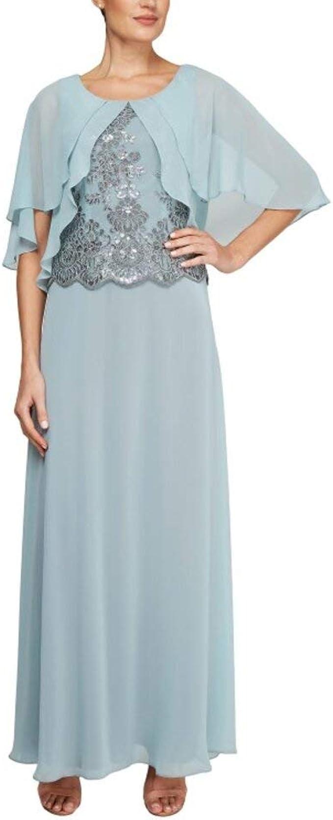 Le Bos Damen Capelet Embroidered Long Dress Kleid für besondere