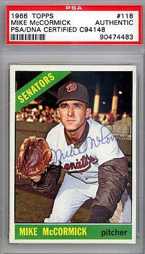 Mike McCormick Signed 1966 Topps Trading Card 118 Washington Senators