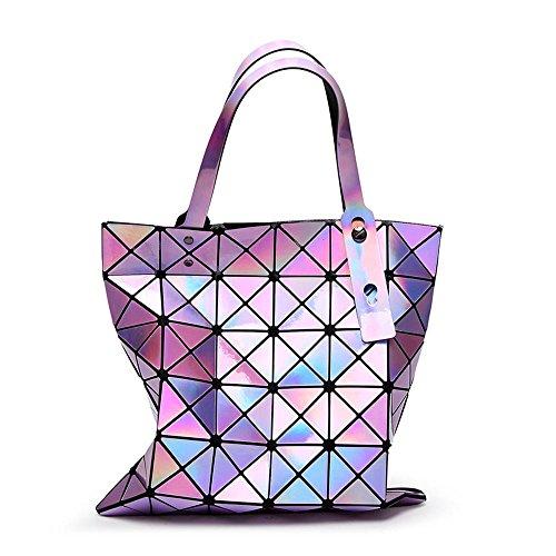 Aoligei Sac femme géométrie pliantes femme sac 6 réseau laser unique épaule sac à main fashion A