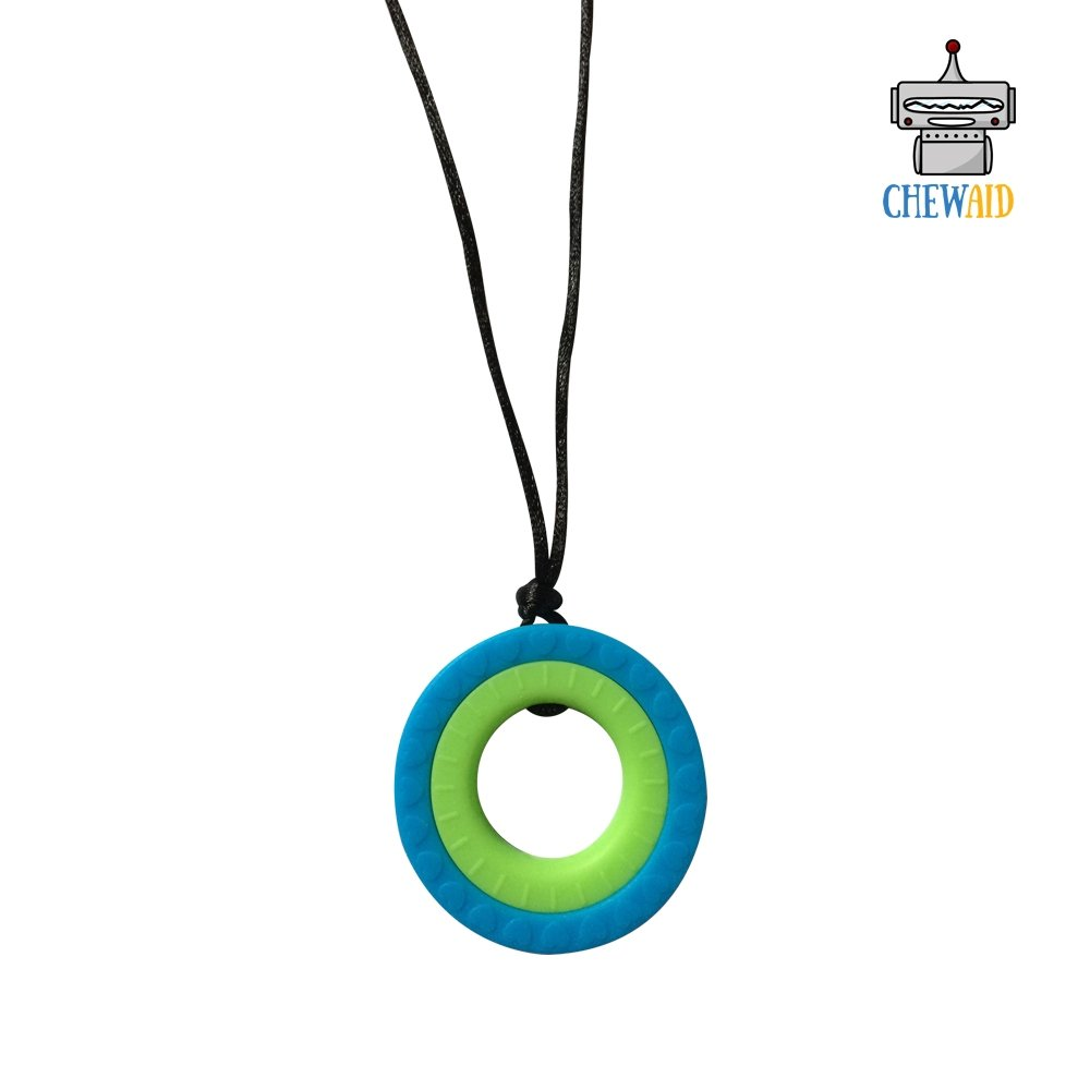 Chew Pendant Double Ring Training and Development Fidget Toy Chew Necklace for Teething Babies,Sensory,Oral Motor, Anxiety, Autism, ADHD (Blue and Green) JCM ChewAid