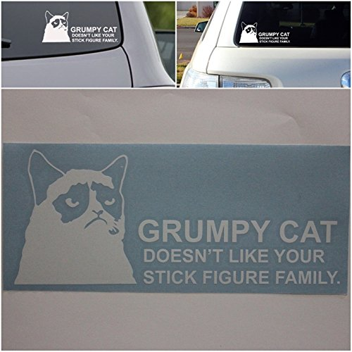 1 Set Acceptable Unique Grumpy Cat Doesn't Like Your Stick Figure Family Car Window Sticker Decor Joke Badge Laptop Patches Home Art Funny Graphics Windows Vinyl Stickers Decal Size 8