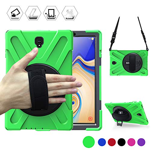 Samsung Galaxy Tab S4 Tablet Case with Rotating Handle and Shoulder Strap, BRAECN Shock-Absorption Full Body Protection Rugged Cover Case for Samsung Tab S4 10.5 Inch 2018 Model T837/T835/T830 (Green) (Best Protection For Samsung Galaxy S4)