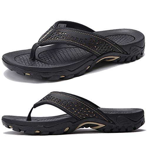 KIIU Mens Flip Flop Indoor and Outdoor Thong Sandals Beach Slippers Black, 46 (Best Mens Thong Sandals)