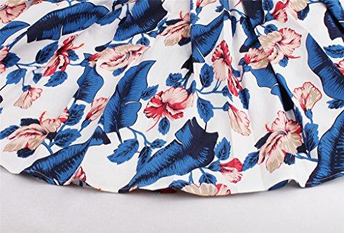 Femme Bleu 50 fleurs Feuille swing annees imprime Eudolah midi Jupe des Pwv8F