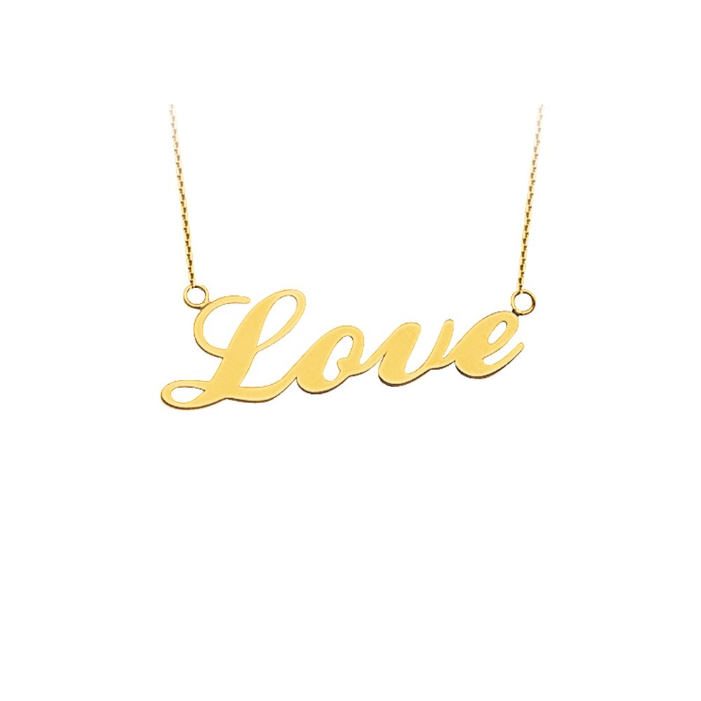 LOVE NECKLACE, 14KT GOLD LOVE NECKLACE 18'' INCHES