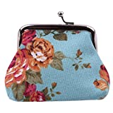 VWH Women Retro Small Wallet Flower Clutch Bag Good Flowers Gift Bags (blue)