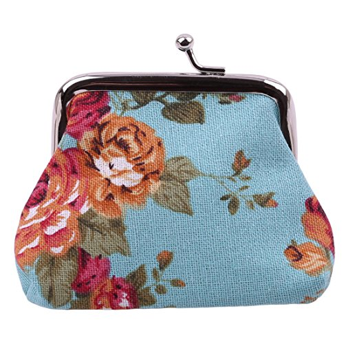 VWH Women Retro Small Wallet Flower Clutch Bag Good Flowers Gift Bags (blue) by VWH (Image #4)