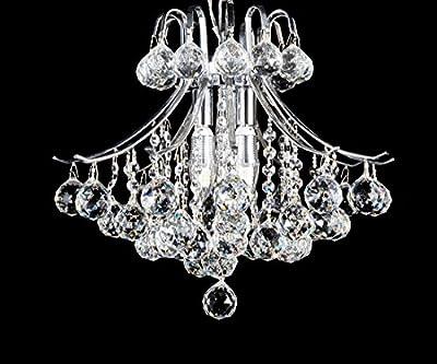Top Lighting Modern Pedant Style Chrome Finish 4-light Crystal Chandelier Hanging Light Fixture
