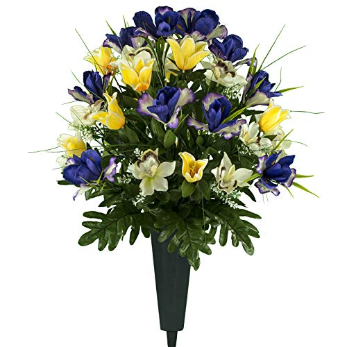 Sympathy Silks Artificial Cemetery Flowers – Realistic Vibrant Tulips, Outdoor Grave Decorations - Non-Bleed Colors, and Easy Fit - Yellow Purple Tulip Bouquet with Cemetery Vase