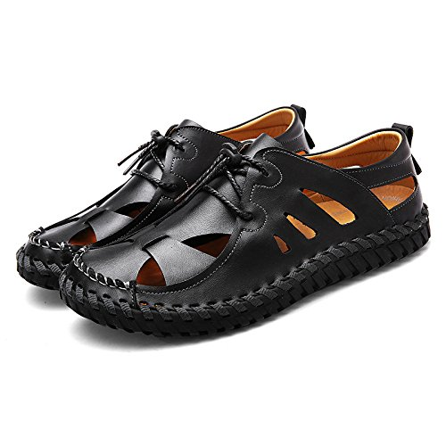 Hope Mens Leather Sandals Closed Toe Outdoor Trekking Climbing Sandals Summer Breathable Comfy Beach Shoes Black nGmFgKX1qB